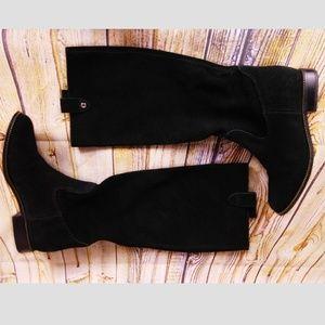 Michael Kors Black Suede Boots Sz 6.5 Zipper Trim